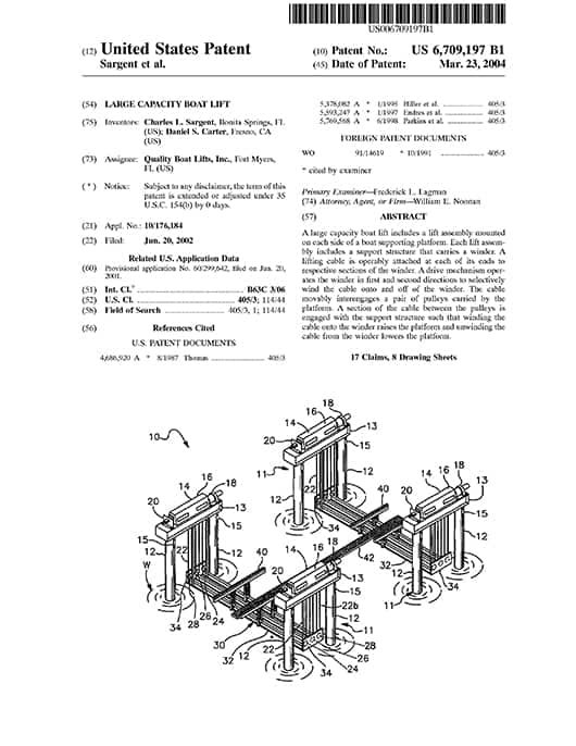Patented Technology - image patent-2 on https://www.iqboatlifts.com