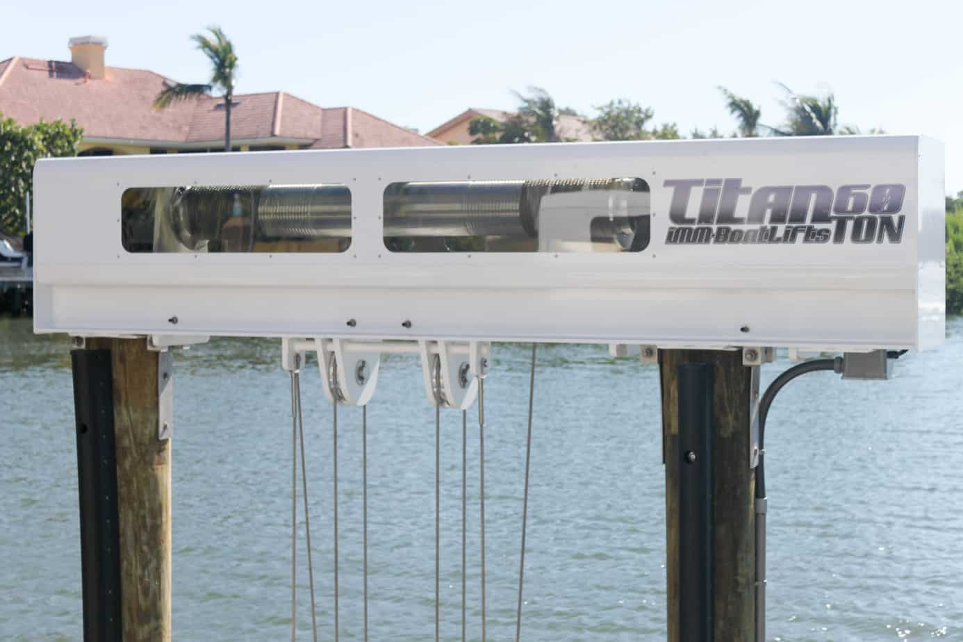 How to Pick the Best Boat Coverings By Fabric Type - image patented-technology-Titan-Beam on https://www.iqboatlifts.com