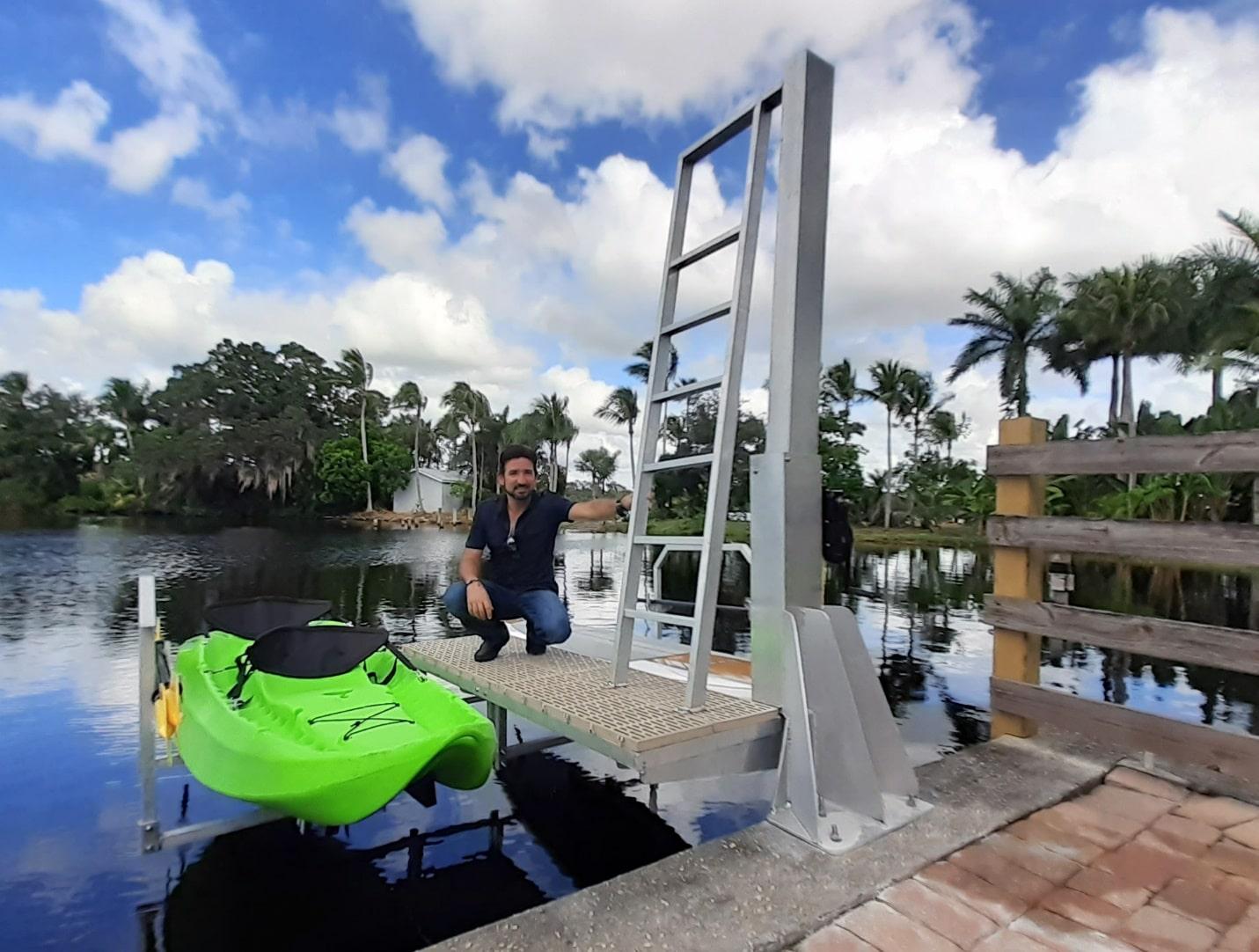 Anchoring The Dual Kayak Lift To Sea Wall